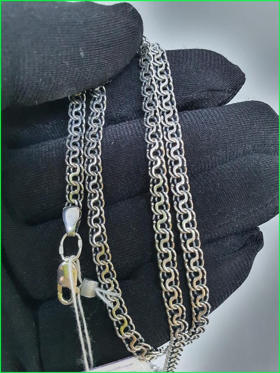 Серебряная цепь Греческий Бисмарк (длина 55 см, вес 13.55 грамм). Ручное плетение. 925 проба