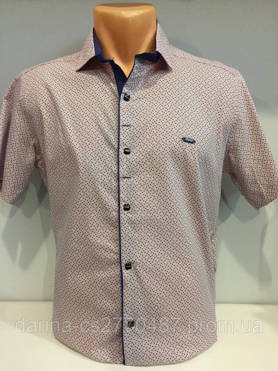 Мужская рубашка на кнопках с коротким рукавом S-2XL