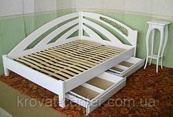 """Белая двуспальная кровать из массива натурального дерева """"Радуга"""" угловая, фото 2"""