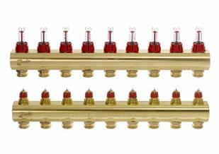 Коллектор для теплого пола FHF 9+9 c ратометрами Danfoss