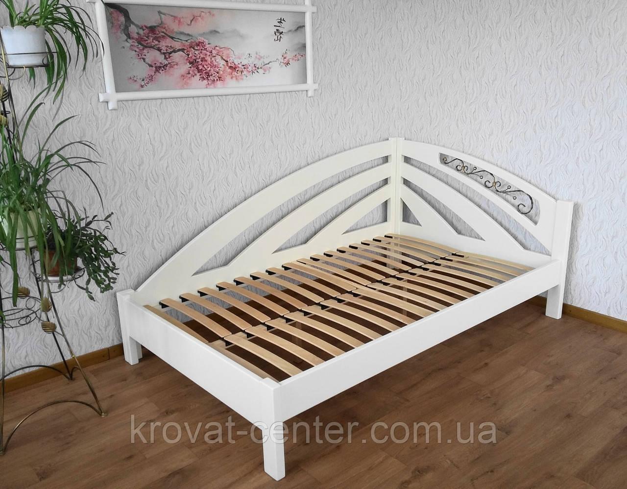 """Белая двуспальная кровать из массива натурального дерева """"Радуга"""" угловая"""