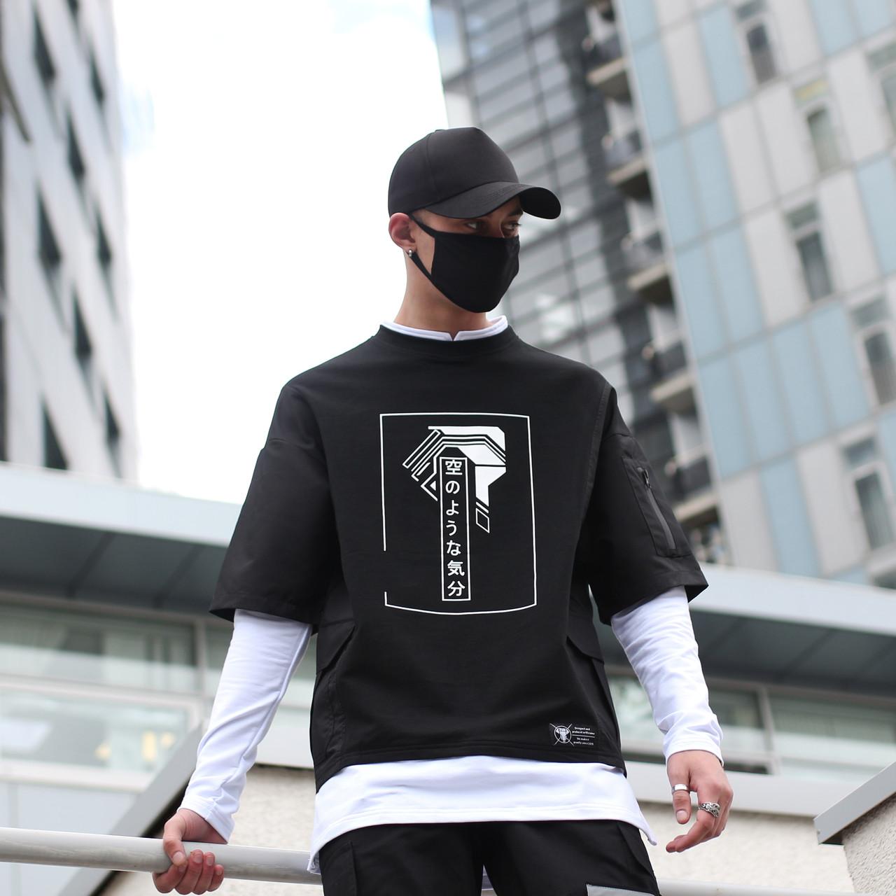 Лонгслив мужской черный с принтом от бренда ТУР модельТакеша (Takesha)