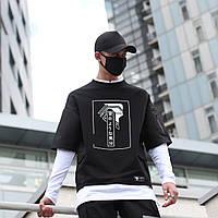 Лонгслив мужской черный с принтом от бренда ТУР модельТакеша (Takesha),размер S,M,L