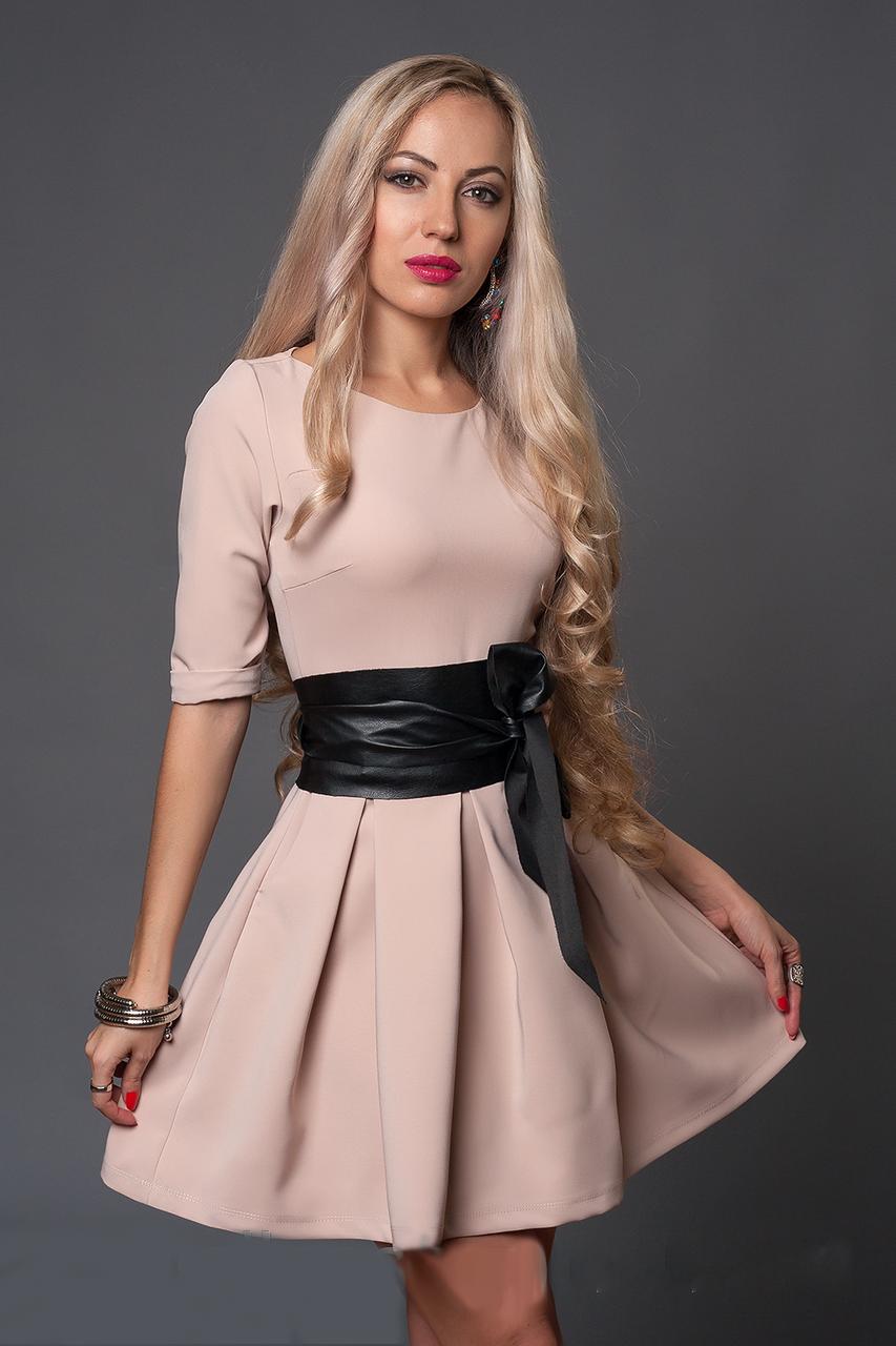 Женское платье-клеш с широким поясом, размеры 42,44,46,48