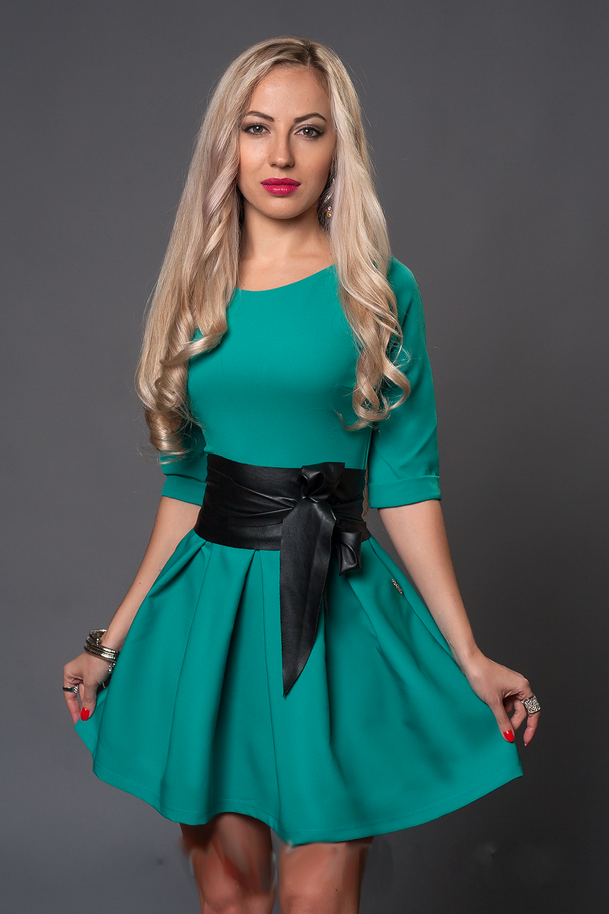 Женское платье-клеш с широким поясом, размеры 48