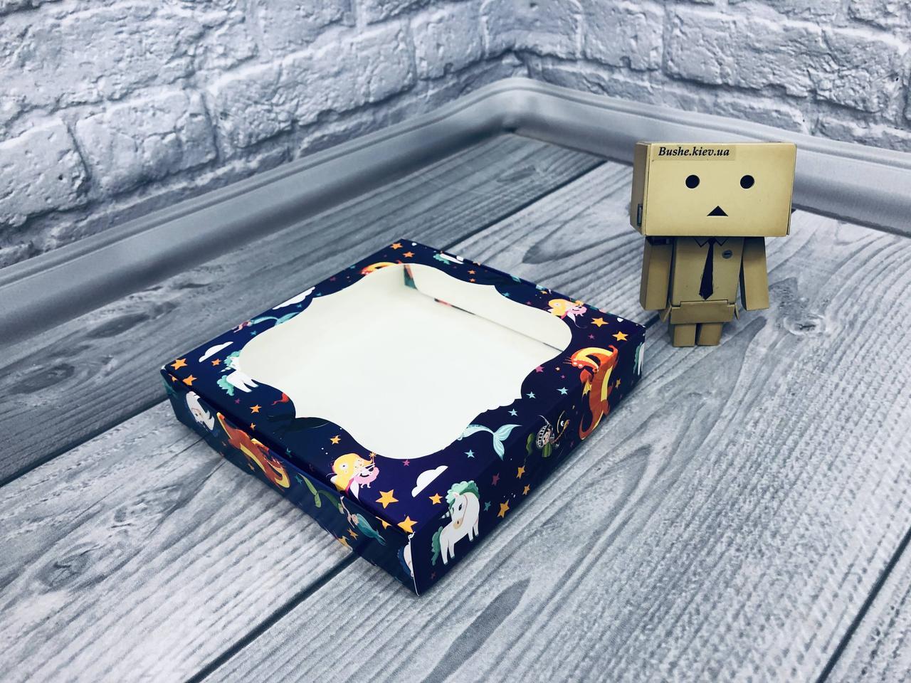 *10 шт* / Коробка для пряников / 150х150х30 мм / печать-Фиолет.Сказка / окно-обычн / лк