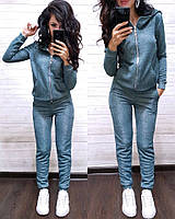 Женский спортивный костюм турецкая двунитка  с капюшоном, жіночий спорт костюм S/M/L/XL (голубой), фото 1