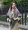 Красивый темно-синий платок для девушки (120х120 см, темно-зеленый, 80%-шерсть)