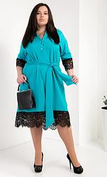 Женское платье-рубашка из супер софта размеры 50,52,54 бирюза