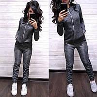 Женский спортивный костюм турецкая двунитка  с капюшоном, жіночий спорт костюм S/M/L/XL (серый), фото 1