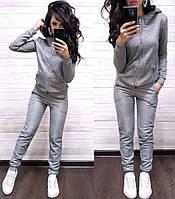 Женский спортивный костюм турецкая двунитка  с капюшоном, жіночий спорт костюм S/M/L/XL серый), фото 1