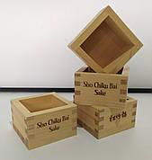 Масу Sho Chiku Bai Sake. Деревянные рюмки для Саке. Рюмки из вечнозеленой хвои 85х85х55мм.