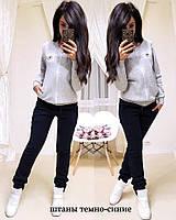 Женский спортивный костюм турецкая трехнитка на флиссе, жіночий спорт костюм теплий S/M/L/XL (серый), фото 1