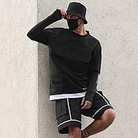 Лонгслив мужской черный с принтом от бренда ТУР модель Скорпион (Scorpion),размер S,M,L,XL