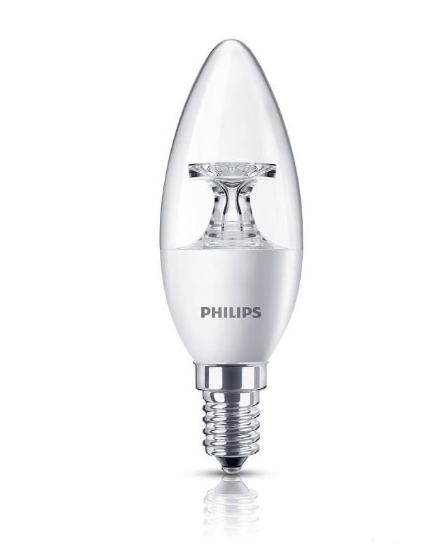 Лампа светодиодная LED 5,5 - 40W E14 827 B35 (свеча) CL PHILIPS