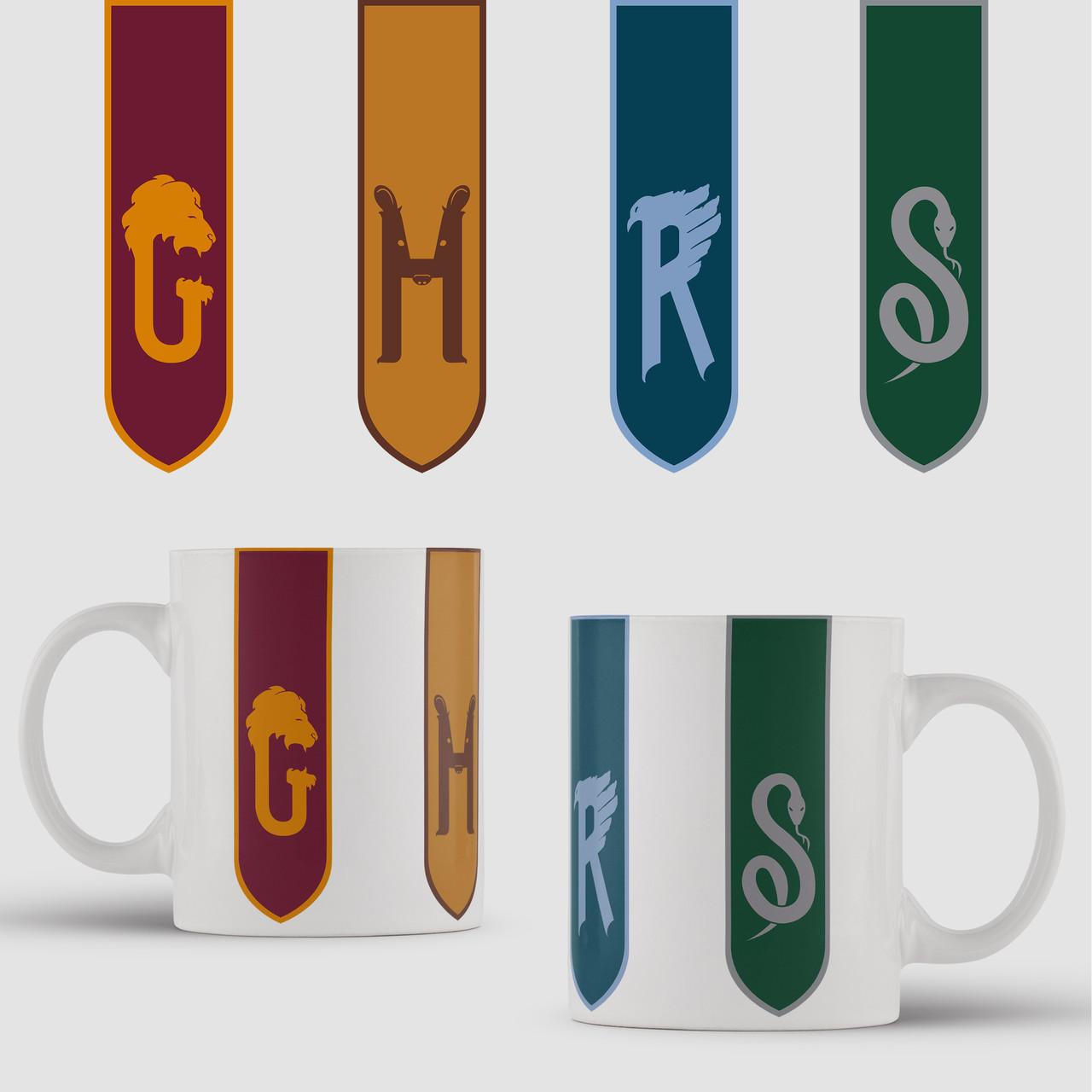 Кружка с принтом Гарри Поттер флаги. арт. Harry Potter art. Чашка с фото