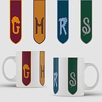 Кружка с принтом Гарри Поттер флаги. арт. Harry Potter art. Чашка с фото, фото 1