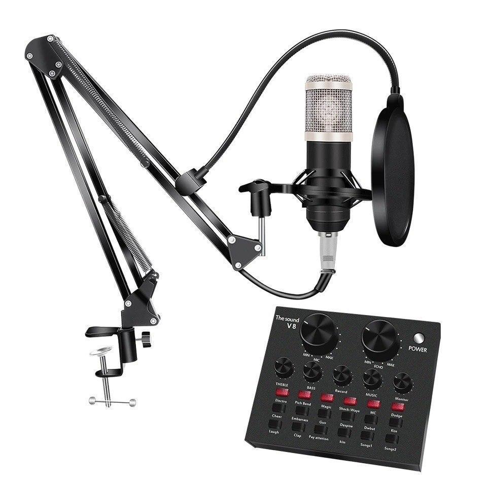 Настільний конденсаторний студійний мікрофон BM-800 зі звуковою картою V8