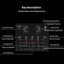 Настільний конденсаторний студійний мікрофон BM-800 зі звуковою картою V8, фото 2