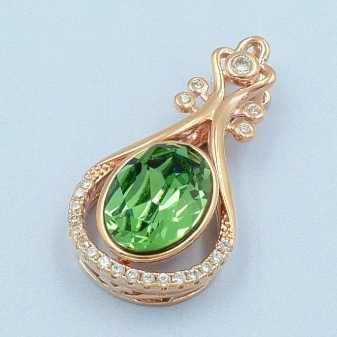 XUPING Кулон Позолота РО с камнем Swarovski зеленого цвета и белыми цирконами Высота 3.5см