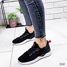 Женские кроссовки черные  с белой подошвой, текстиль, фото 3