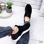 Женские кроссовки черные  с белой подошвой, текстиль, фото 4