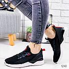 Женские кроссовки черные  с белой подошвой, текстиль, фото 5