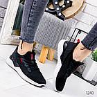 Женские кроссовки черные  с белой подошвой, текстиль, фото 6