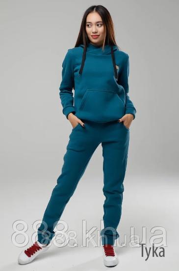 Теплый женский спортивный костюм турецкая трехнитка на флисе с капюшоном, S/M/L/XL (синий)