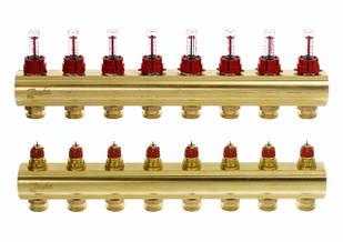 Коллектор для теплого пола FHF 8+8 c ратометрами Danfoss