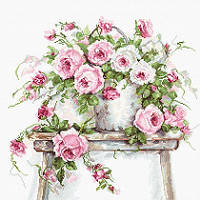 Набор для вышивки крестом Luca-S BA2331 Розы на табурете
