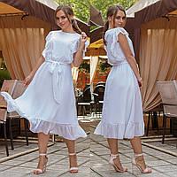 """Белое летнее шифоновое платье """"Ребекка"""""""