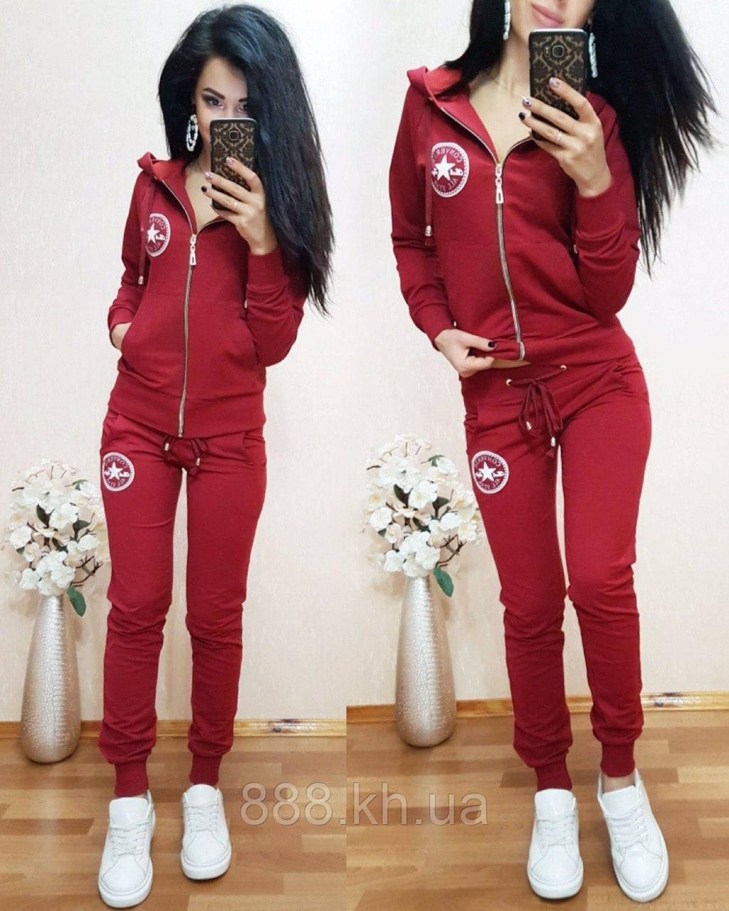 Женский спортивный костюм Converse с капюшоном, жіночий спорт костюм S/M/L/XL (красный)