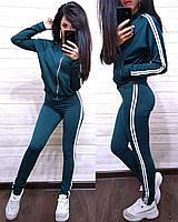 Женский спортивный костюм, костюм для прогулок есть большой размер S/M/L/XL (зеленый), фото 1