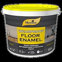 Эмаль для деревянных и бетонных полов на водной основе Белая 0,9л ТМ Maxima