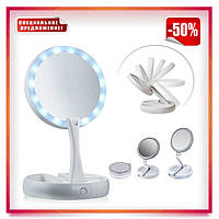 Косметическое зеркало с LED подсветкой Floxite 10x plus 1x Lighted Folding Vanity & Travel Mirror