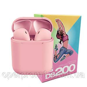 Беспроводные сенсорные наушники i12 TWS DS 200 Headset / Цвет - Розовые