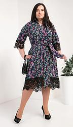 Платье-рубашка из супер софта размеры 50,52,54 разноцветные листики