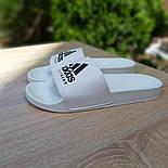 Мужские шлепанцы летние низкие Adidas шлепки белые. Живое фото. Реплика, фото 4