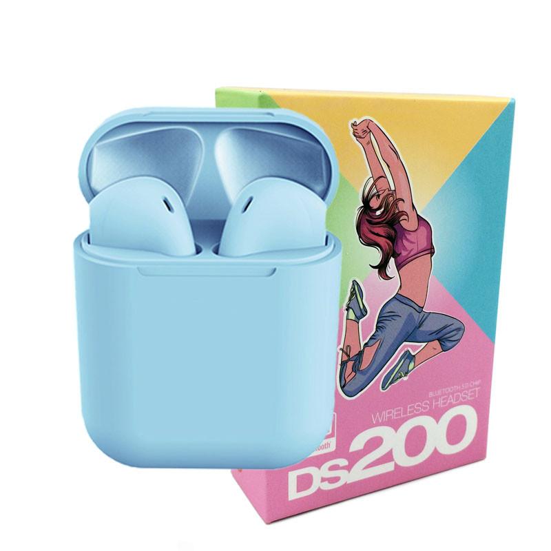 Беспроводные сенсорные наушники i12 TWS DS 200 Headset / Цвет - Светло-синий