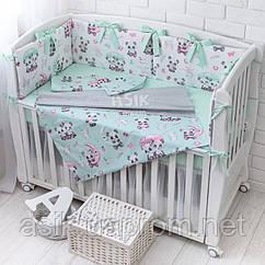 Детская постель «Пандочки под зонтиком» с бортиками на 3 стороны, пододеяльником, наволочкой, простыней, №378