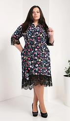 Платье-рубашка из супер софта размеры 50,52,54 разноцветные цветы