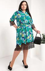 Платье-рубашка из супер софта размеры 50,52,54 бирюза и разноцветные листья
