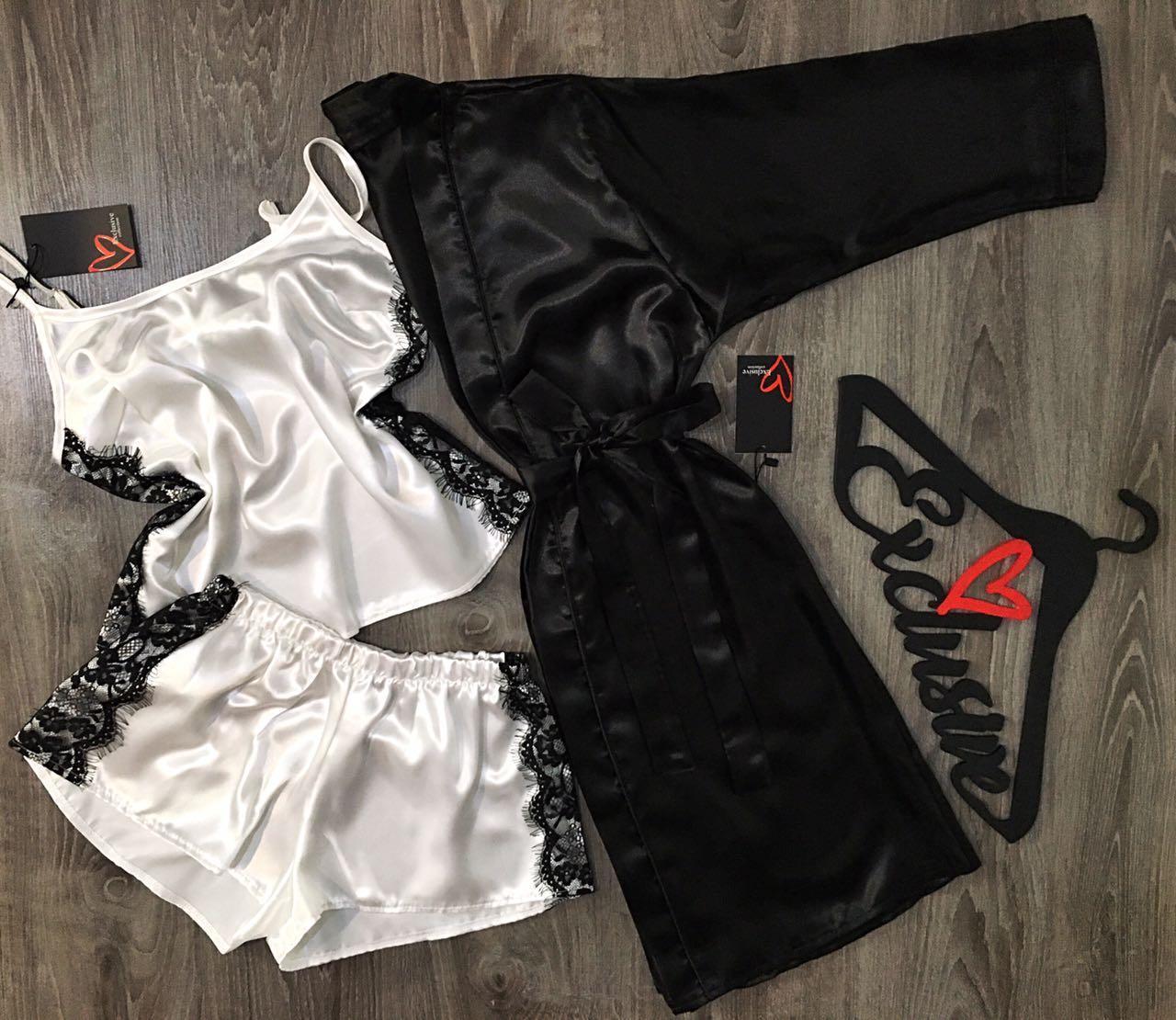 Черно-белый комплект тройка халат+майка+шорты.