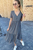 Свободное летнее платье миди с V-вырезом (S, M, L)