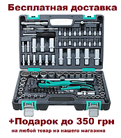 "Набор инструмента STELS 1/2"", 1/4"", CrV, пластиковый кейс 109 предм., 12-гр. гол. (14122)"