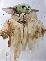 Плакат Мандалорец Йода малыш baby yoda на стену 70 см х 90 см