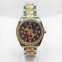 Часы женские наручные Guess (Гесс), серебро с золотом ( код: IBW380SY )