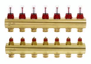 Коллектор для теплого пола FHF 7+7 c ратометрами Danfoss