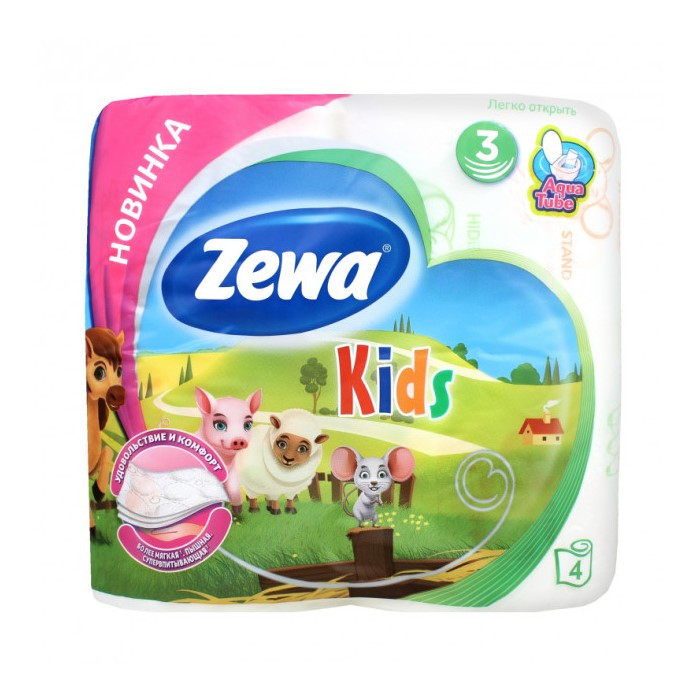 Туалетний папір Zewa Kids, тришарова, 4шт